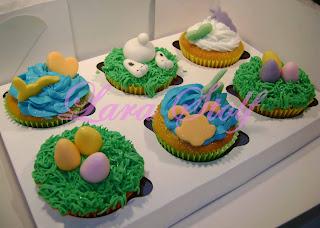 6 cupcakes decorados de páscoa
