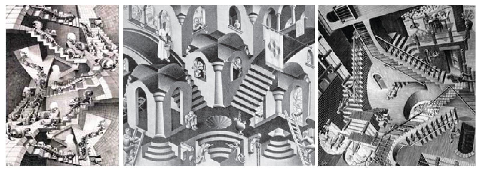 Esquisse artesvisuales maestros m c escher for Escaleras infinitas