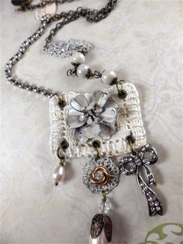 Mixed media necklace by Jennifer