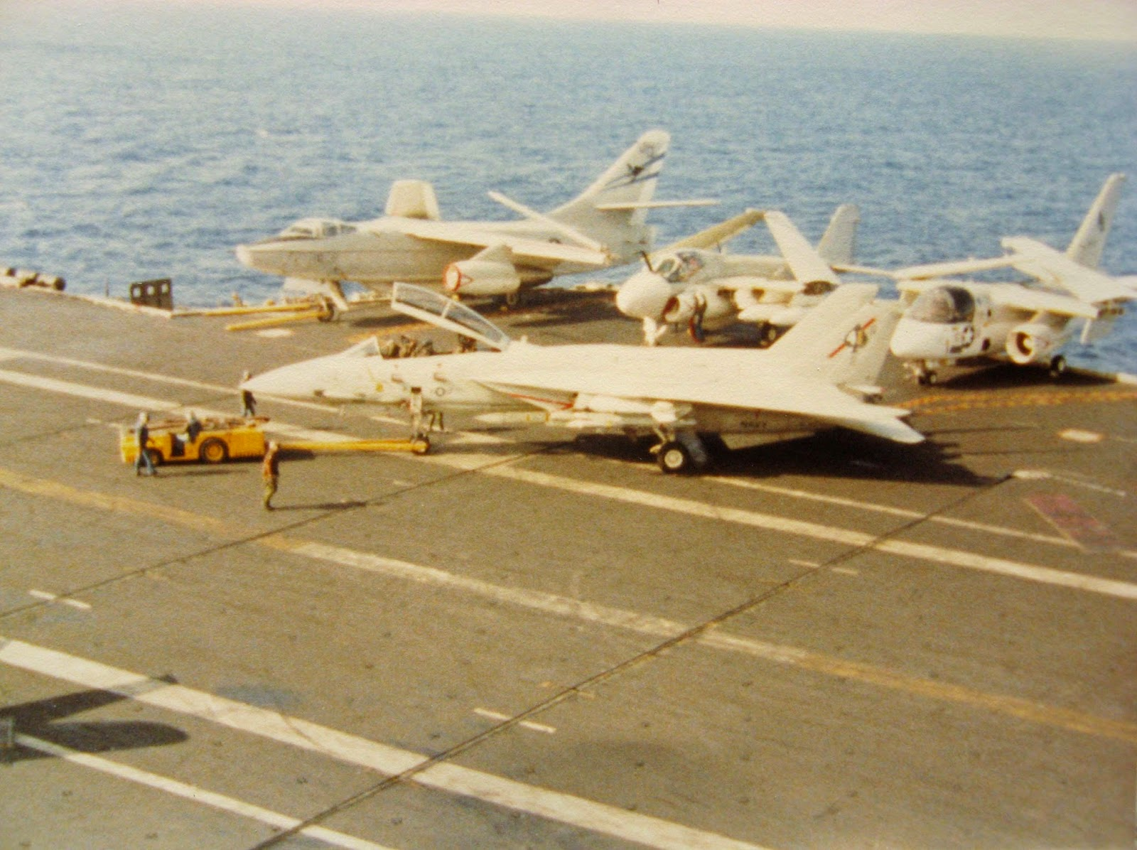 I snapped this from the Crow's Nest after flight ops January 1983