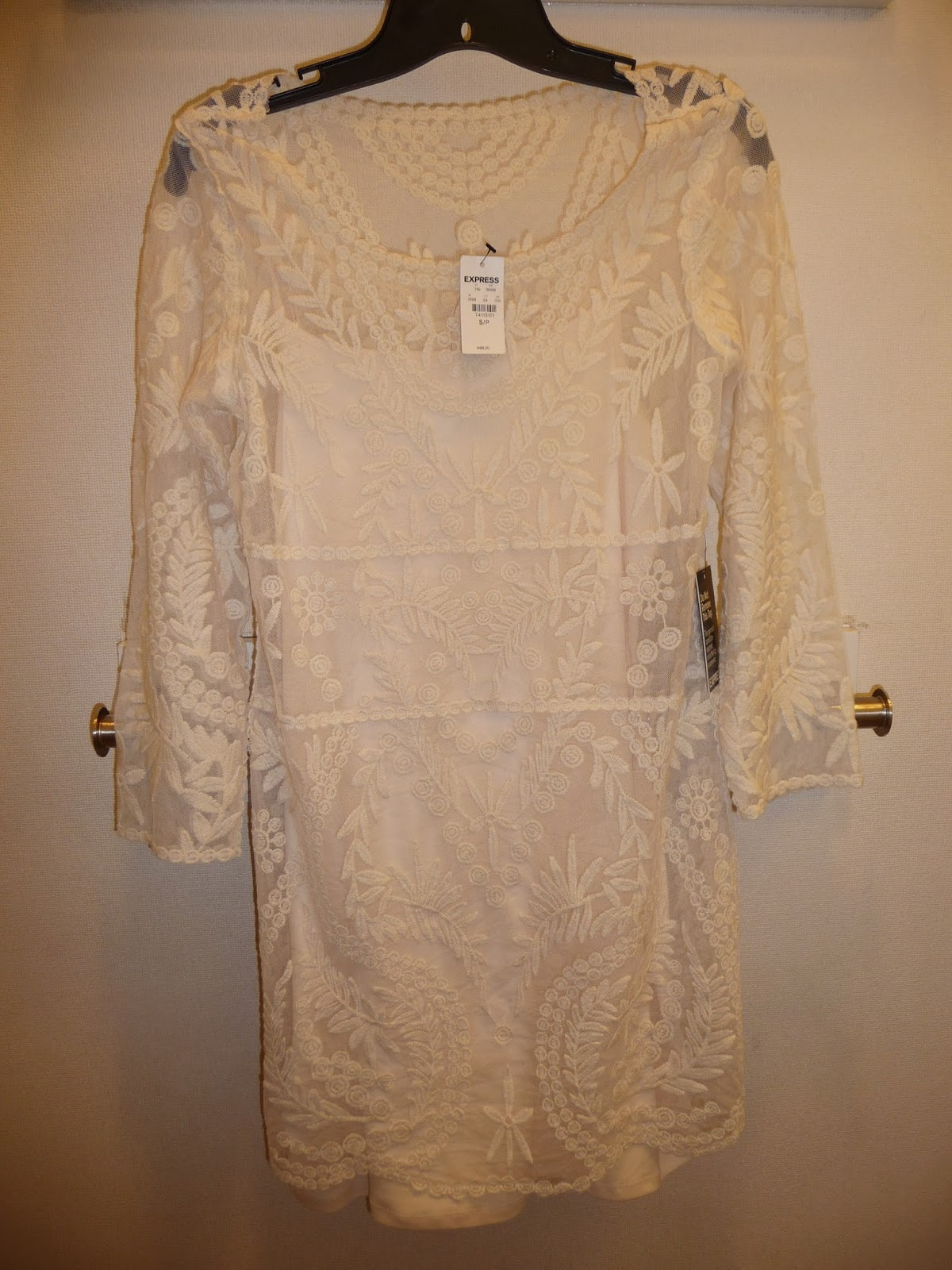 Express, Embroidered Lace, tee, dress, Cream, Ivory