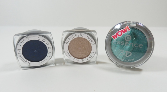 L'Oreal Infallible Eyeshadow All Night Blue and Hourglass Beige, Essence 3D shadow in Irresistible Mermaid Kiss
