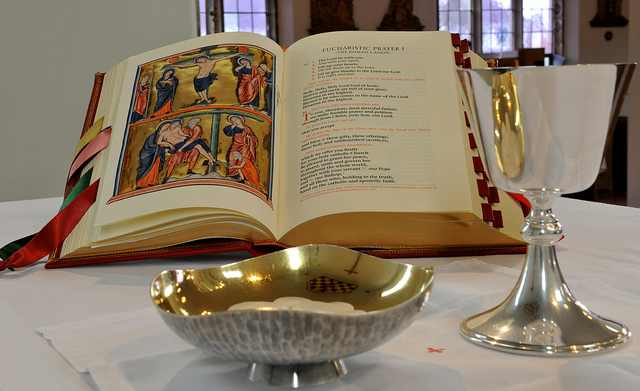 The new Roman Missal on an altar