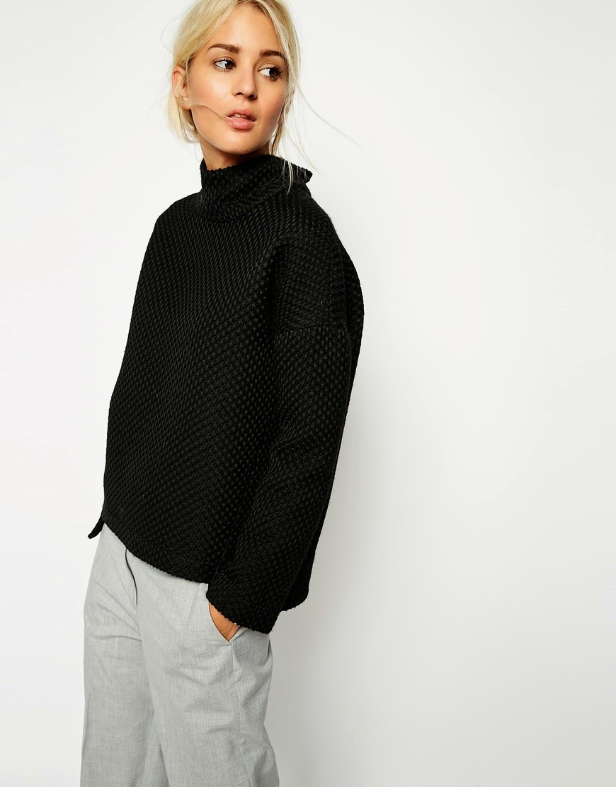 funnel neck jumper black