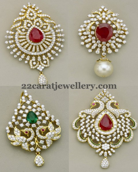 Classic Peacock Diamond Pendants