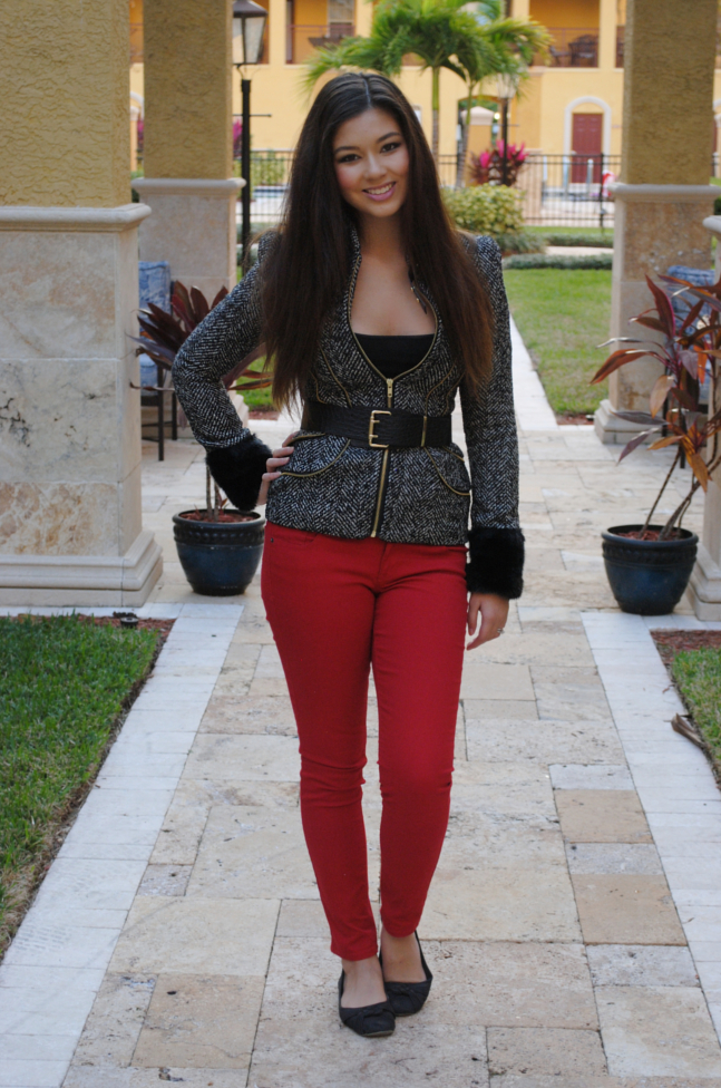 red pants, queens wardrobe, old navy, winter jacket