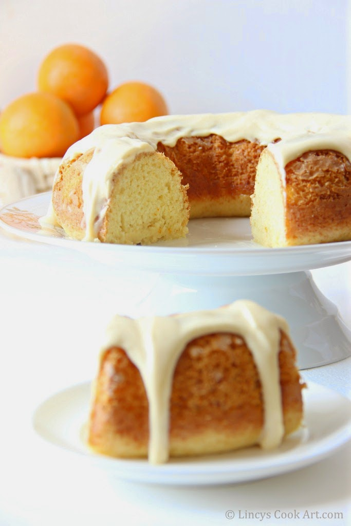 Eggless Orange Cake with orange cream frosting