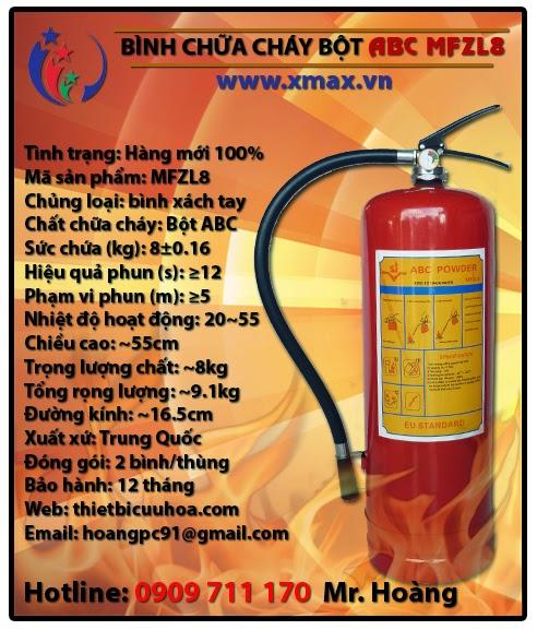 Bình chữa cháy bột ABC MFZL8 8kg loại xách tay