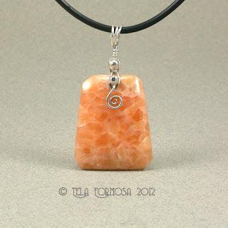 Beautiful Delicate Orange Calcite Argentium Sterling Silver Pendant