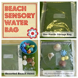 preschool beach unit, sensory tubs, beach water sensory bag