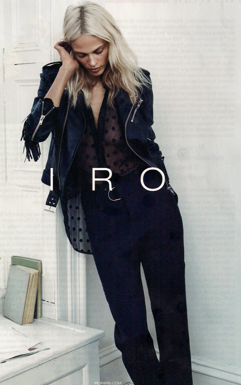 IRO black leather jacket and black pants