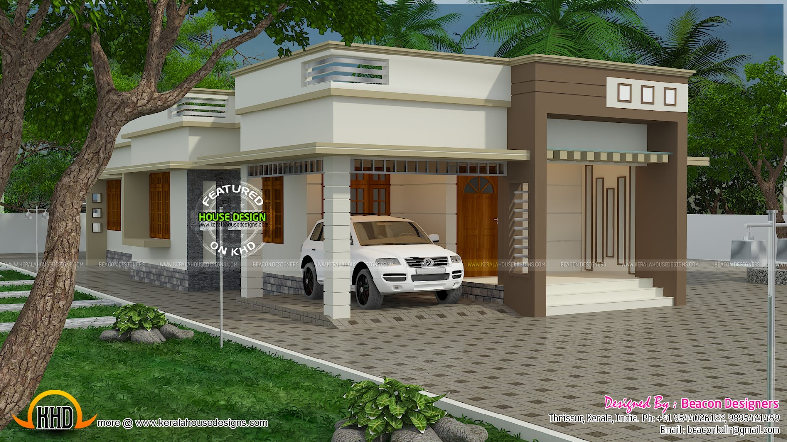1244 sq ft 3 bedroom home plan kerala home design and for Kerala home design flat roof elevation