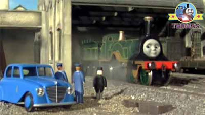 The Fat Controller came to see Thomas and friends Emily the train at the railway wooden engine shed