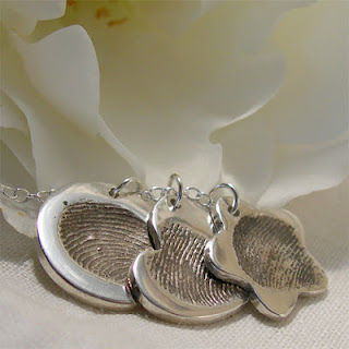Fingerprint Jewellery, Three Fingerprint Charm Cluster Necklace