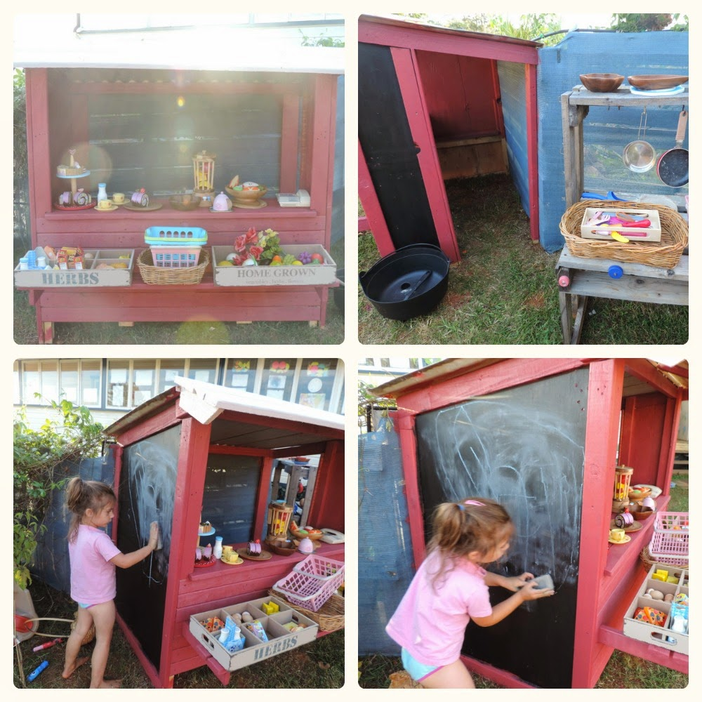 Easy DIY Recycled pallet timber shop, cubby or market stall for outside play . Find out how at Mummy Musings and Mayhem