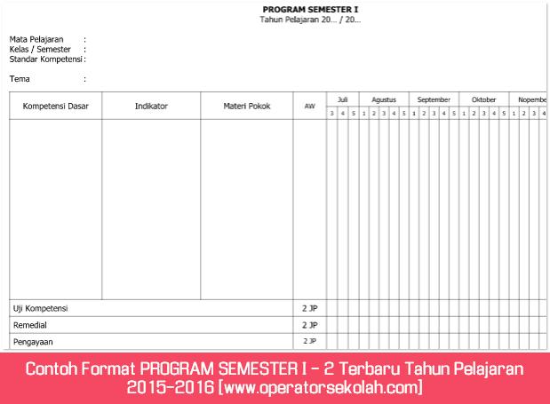 Contoh Format PROGRAM SEMESTER I - 2 Terbaru Tahun Pelajaran 2015-2016 [www.operatorsekolah.com]