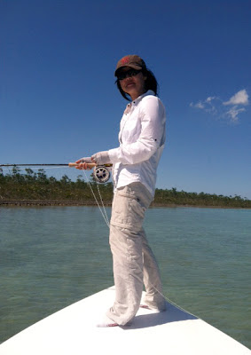 Flygirl Hyun Kounne hunting for bonefish, Andros, Bahamas