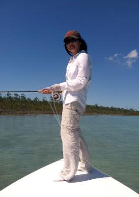 Flygirl Hyun Kounne hunting for bonefish, Andros, Bahamas