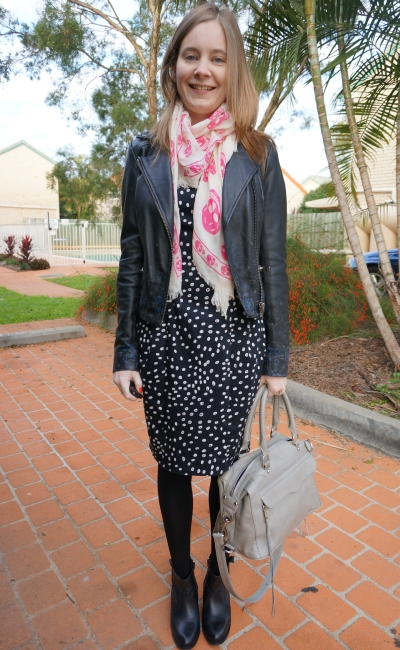 Away From Blue French Connection Polka Dot dress leather jacket skull scarf Ankle boots