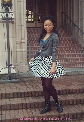 wearing a houndstooth skirt