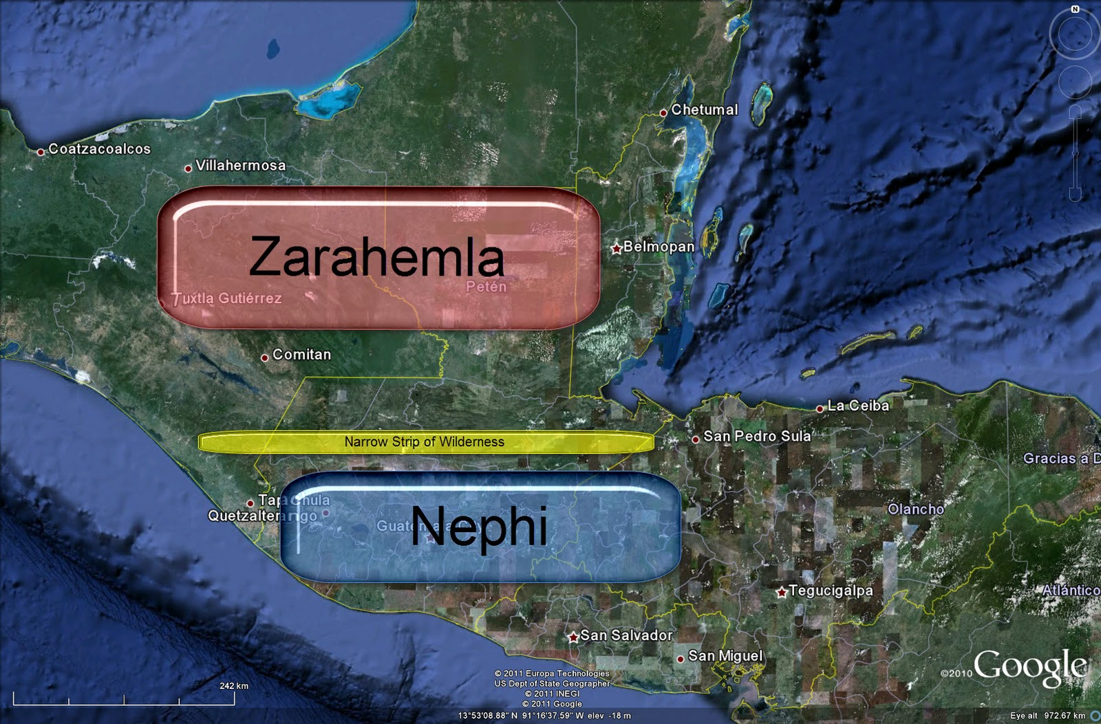 General Lands Of Nephi In Blue And Zarahemla In Red During The Middle Later Part Of Nephite History