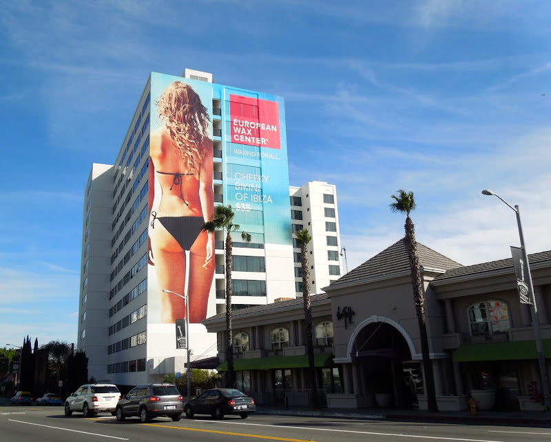 Giant European Wax Center bikini billboard Sunset Strip