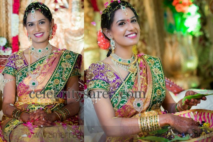 Bride in Embroidered Saree