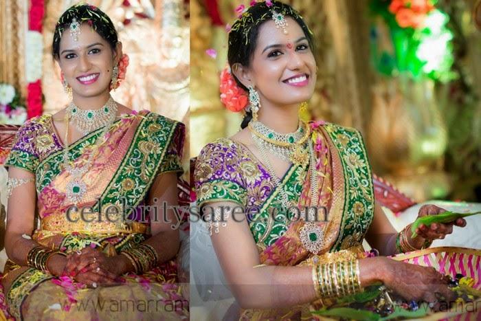 Bride in Embroidered Saree