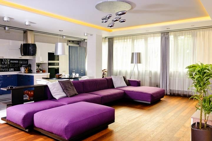 Comfortable Apartment Design With Purple Living Room Furniture