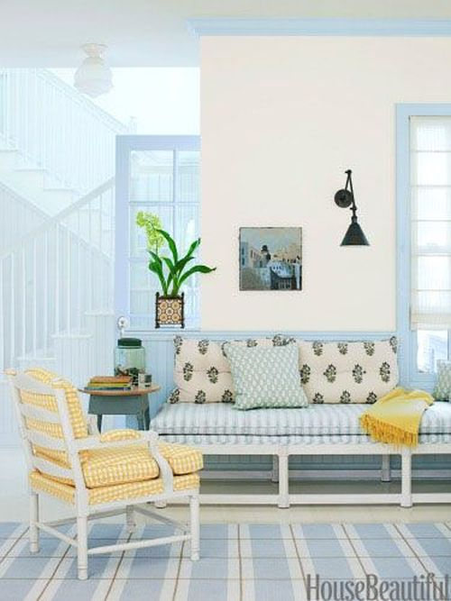 lovely light blue and yellow living room