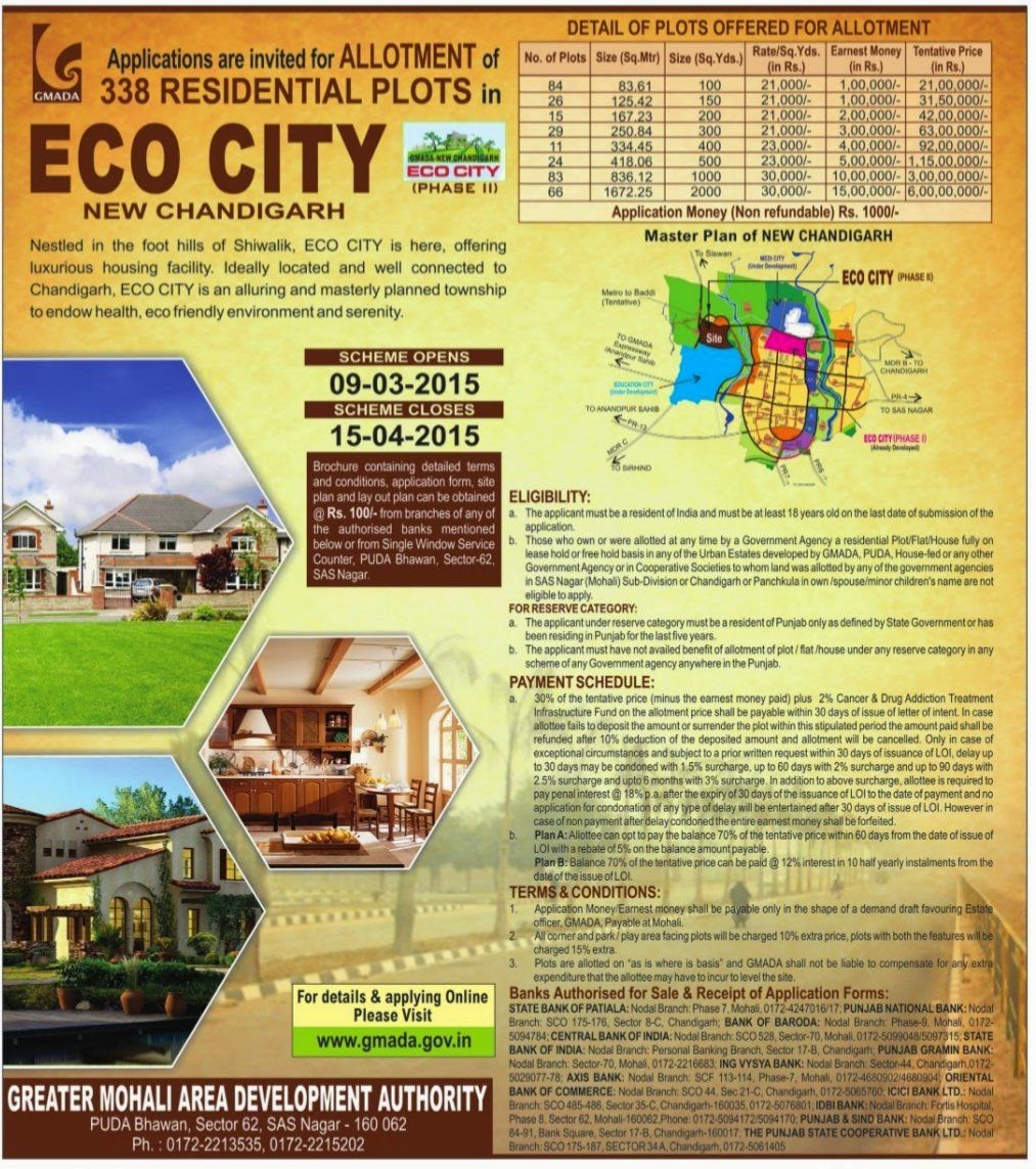 GMADA Invites Applications For Ecocity Phase 2 Plots Mullanpur New-Chandigarh