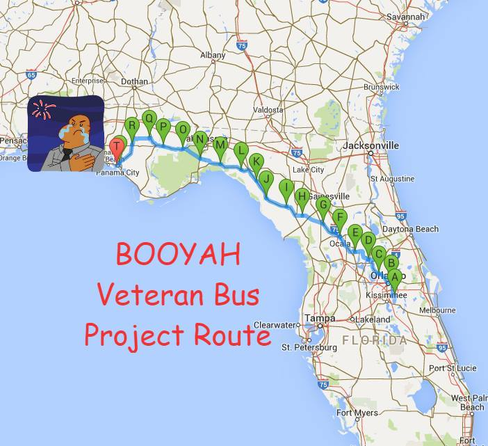 Official Route of the Booyah Veteran Bus Project