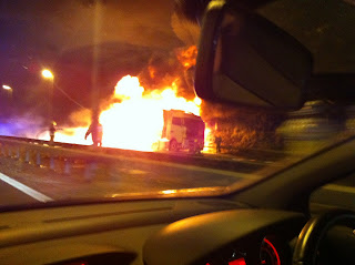 M20 Lorry Fire Photos Video
