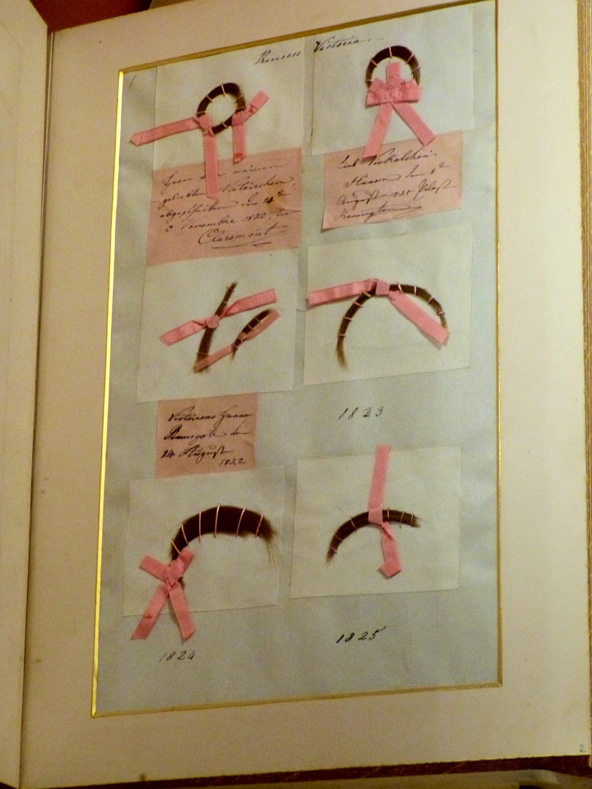 Locks of Queen Victoria's hair (1820-5)