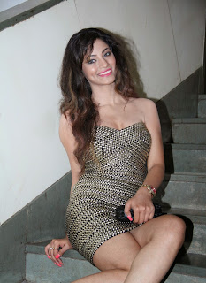 Shilpi Sharma in Lovely Spicy Golden Short Mini Dress at Barkha Movie Launch