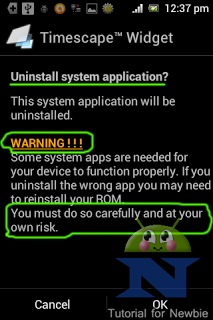 Final warning before uninstalling system apps