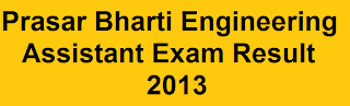 Prasar Bharti Engineering Assistant Exam Result 2013