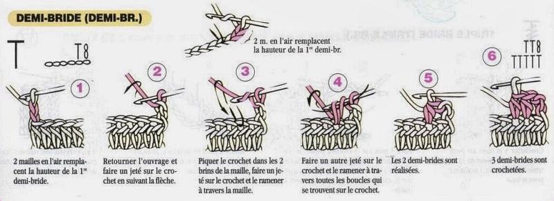 Diagrama meio ponto alto em crochê - demi-bride - Fr