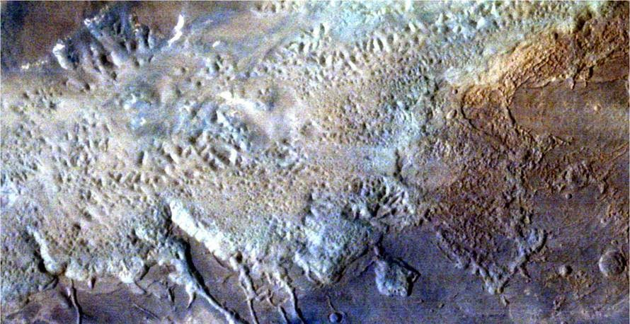 Eos Chaos area, part of the gigantic Valles Marineris Canyon of Mars, seen by India's Mars Orbiter Mission. Credit: ISRO