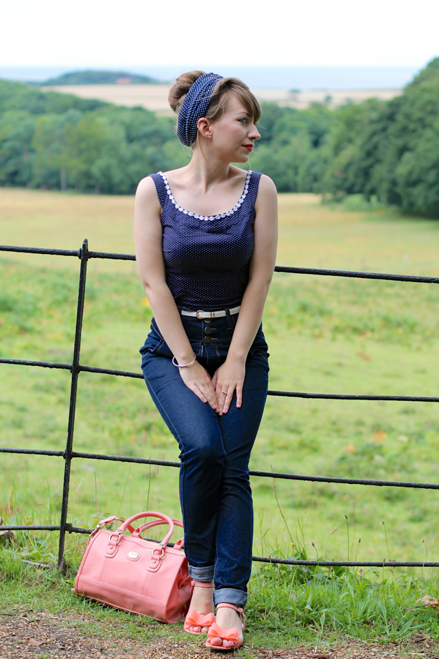 Collectif Rebel Kate jeans, polka dot daisy top, headscarf and coral accessories