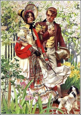 cuadro de pareja vintage paseando pintado por J.C. Leyendecker