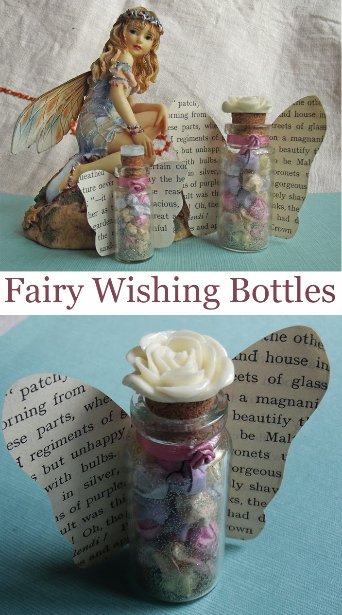 fairy wishes craft DIY book page art ribbon rose glass vial miniature