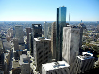 The view from the Chase Tower Sky Lobby in Houston, TX