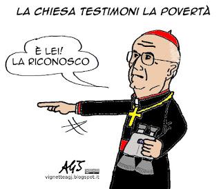 Bertone, Chiesa cattolica, papa francesco, povertà, vignetta satira