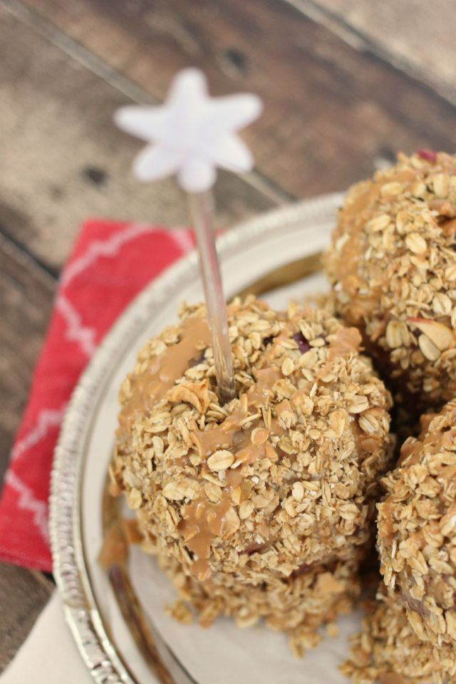 Peanut Butter and Granola Candy Apples