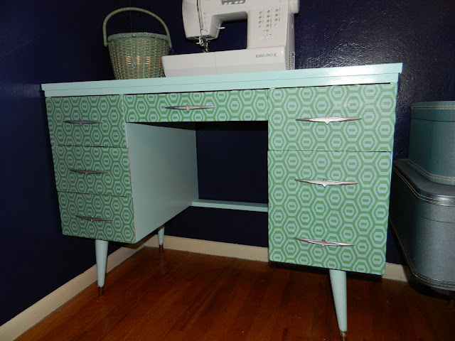 DIY decoupage Amy Butler honeycomb sewing nook desk  mid-century  Mod Podge Just Peachy, Darling