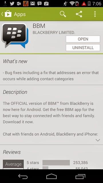 BBM para Android ha recibido una pequeña actualización a la versión 1.0.3.27. En esta nueva versión se a corregido el problema con las categorías de contactos. Descarga BBM para Android en Google Play Fuente:mundoberry