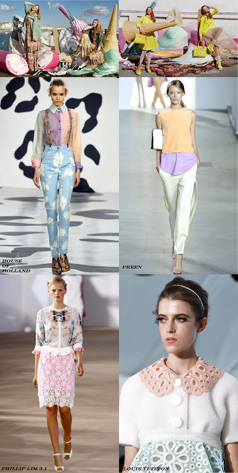 pastel trend, sugary colours, pink, baby blue, mint green, Mulberry, Louis Vuitton, House of Holland, Spring/Summer 2012