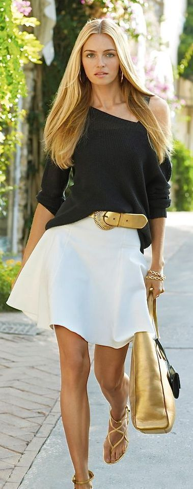 White Skirt Black Blouse and Gold Inserts Belt Bag and Sandals. Cute Summer Style.