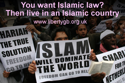 Islam will dominate the world, Sharia the true solution, Freedom can go to hell banners